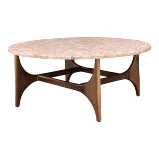 Rose Marble Top With Walnut Base Coffee Table For Sale