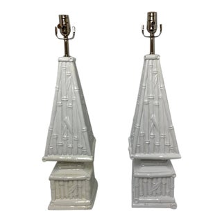 Vintage 1980s Ceramic Bamboo Table Lamps - a Pair For Sale