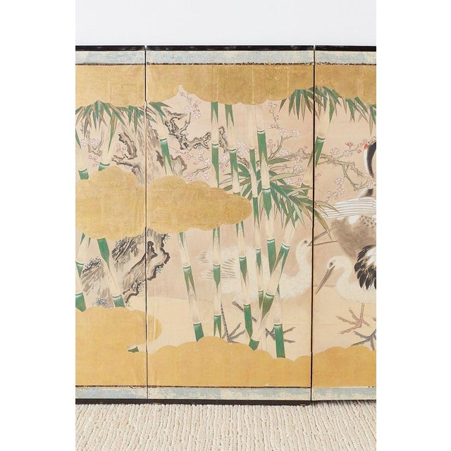 Pair of Japanese Six Panel Meiji Crane Landscape Screens For Sale - Image 4 of 13