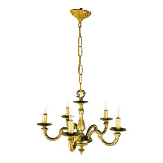 French 5-Arm Bronze Chandelier For Sale