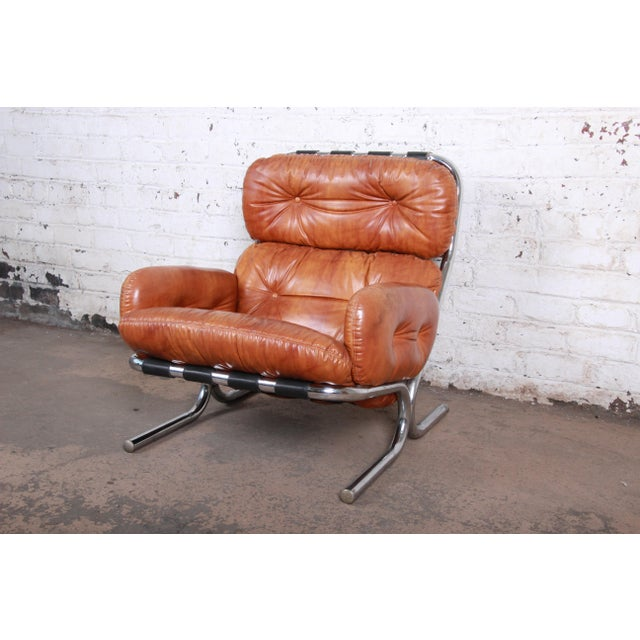 1970s Milo Baughman for Directional Mid-Century Modern Lounge Chair and Ottoman, 1970s For Sale - Image 5 of 13