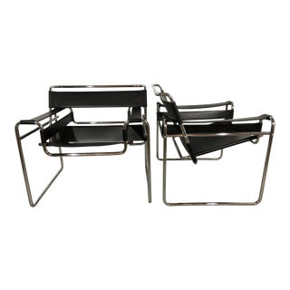 "Pair of Marcel Breuer ""Wassily"" Arm Chairs, Vintage 1970s For Sale"