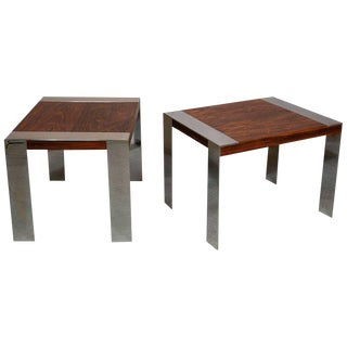 Mid Century Milo Baughman Rosewood and Chrome Side Tables - a Pair