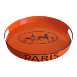 Image of Orange Lacquered Hermes Inspired Bar Tray For Sale