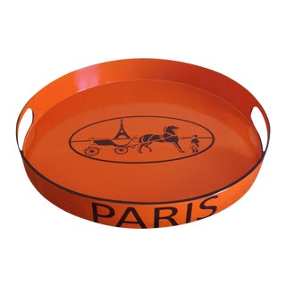 Orange Lacquered Hermes Inspired Bar Tray For Sale