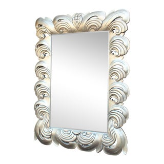 Huge Large Silver Leaf Decorative Frame Mirror For Sale