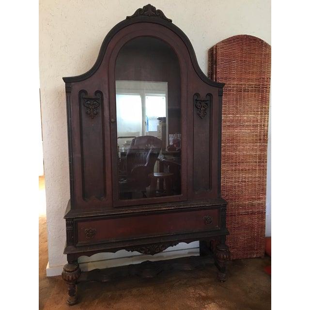 Primitive Primitive Oxblood Red Wooden Bookcase For Sale - Image 3 of 3