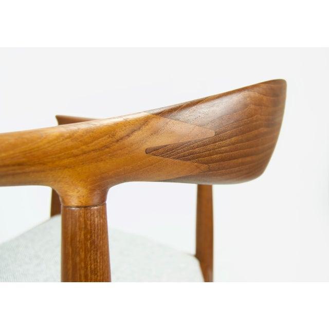 Gray Hans Wegner for Johannes Hansen Teak Round Arm Chair For Sale - Image 8 of 13