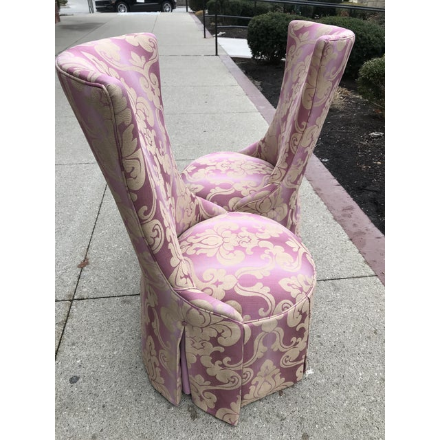 1940s Vintage Lee Jofa Host Dining Chairs Pink Ombre Damask - a Pair For Sale - Image 10 of 12