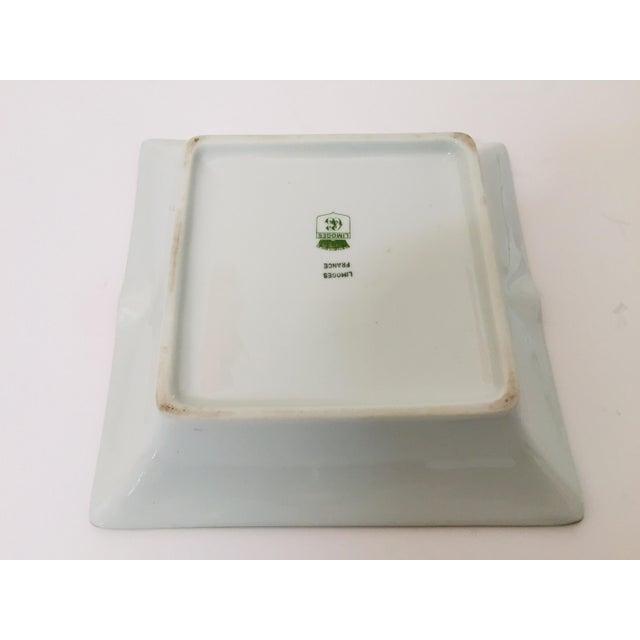 Metal Limoges, France Modern Porcelain Square Green and Gold Ashtray For Sale - Image 7 of 12
