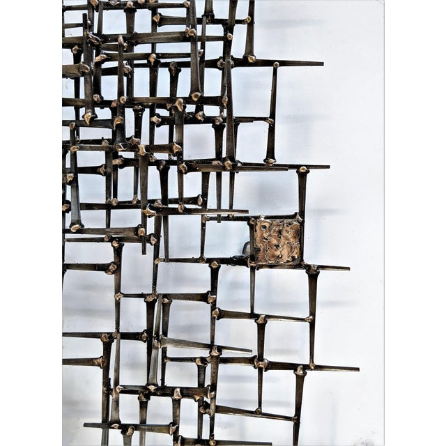 Gold Abstract Nail & Bronze Wall Jere Style Sculpture For Sale - Image 8 of 12