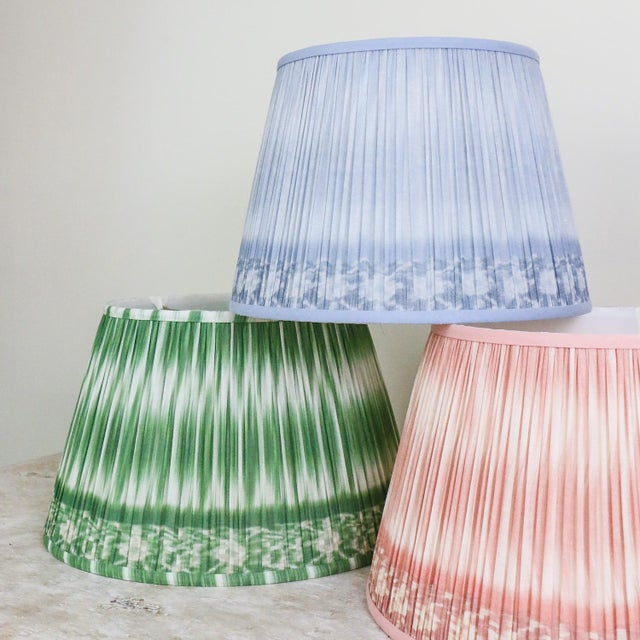 """Transitional Pleated Printed Shade with Border 14"""" Turquoise and Navy For Sale - Image 3 of 7"""