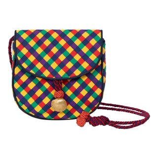 Vintage Bottega Veneta Colorful Ribbon Gold Shell Crossbody Bag For Sale