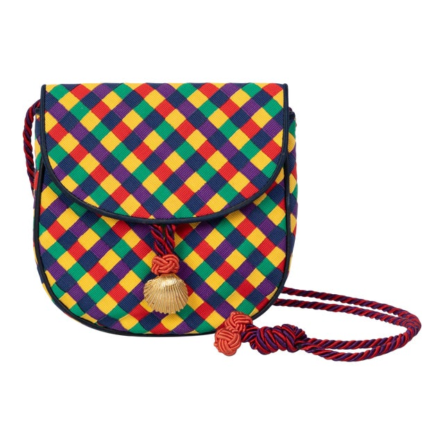Vintage Bottega Veneta Colorful Ribbon Gold Shell Crossbody Bag For Sale