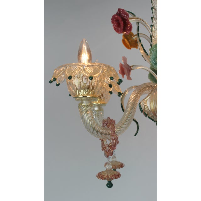 Glass Italian Venetian Glass Chandelier For Sale - Image 7 of 11