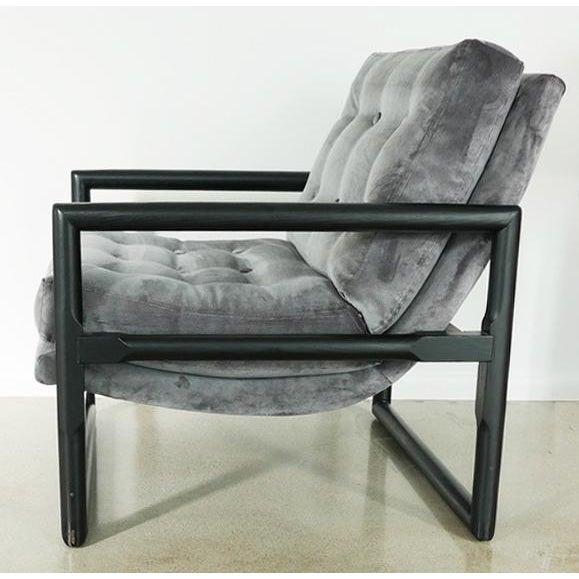 "Milo Baughman Grey Mohair Milo Baughman ""Cube"" Side Chair For Sale - Image 4 of 7"