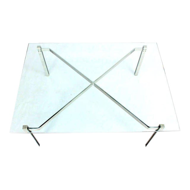 Mid-Century Modern Solid Chrome and Glass-Top Coffee Table by Kjaerholm For Sale