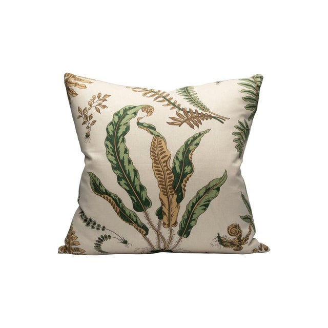 Traditional Elsie De Wolfe Pillow, Greens on Off White For Sale - Image 3 of 3