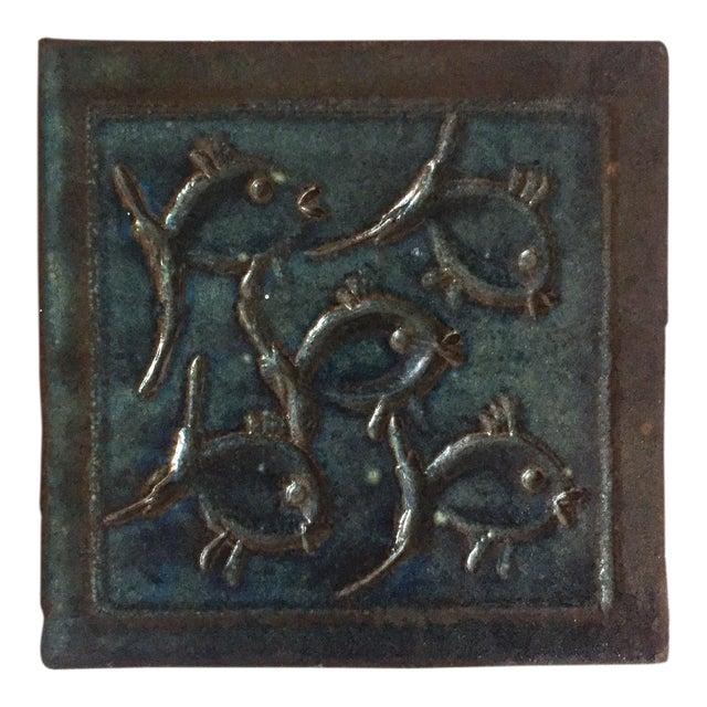 Mid-Century Art Studio Pottery Fish Tile, Trivet - Image 6 of 6