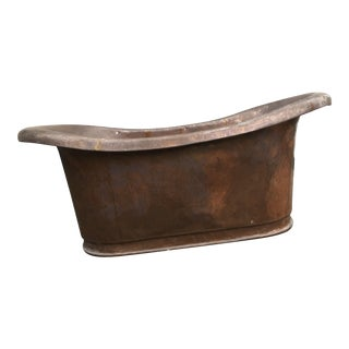 Rare Antique French Copper Slipper Bath Tub For Sale