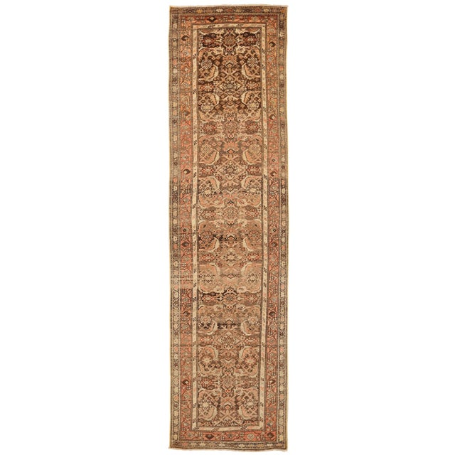1930s Vintage Persian Zanjan Style Rug - 3′2″ × 12′9″ For Sale