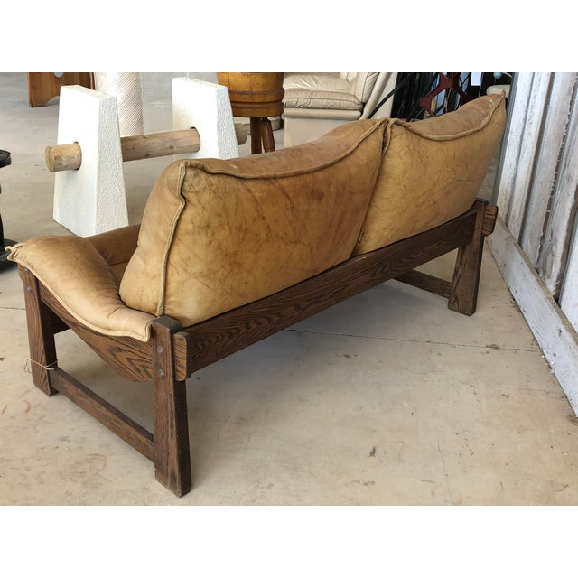 Brown 1970's Swedish Leather Loveseat For Sale - Image 8 of 10