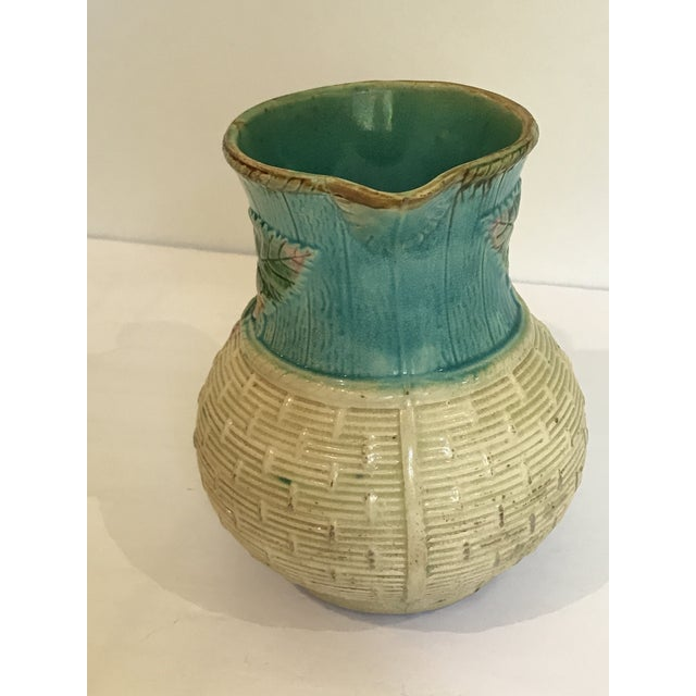 Early 19th Century Majolica Strawberry Basket Pitcher For Sale - Image 5 of 11
