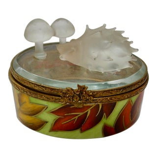 Limoges France Hand Painted Hedgehog & Mushrooms Box For Sale