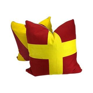 Nautical Signal Flag Throw Pillows - A Pair
