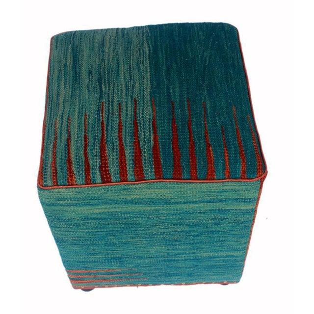 Asian Arshs Dominica Blue/Rust Kilim Upholstered Handmade Ottoman For Sale - Image 3 of 8