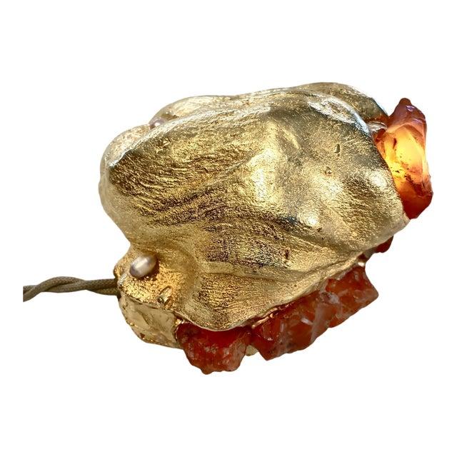 "Light Sculpture: Desert Burl Series ""Abalone"" Lamp, Gems, Gold For Sale"