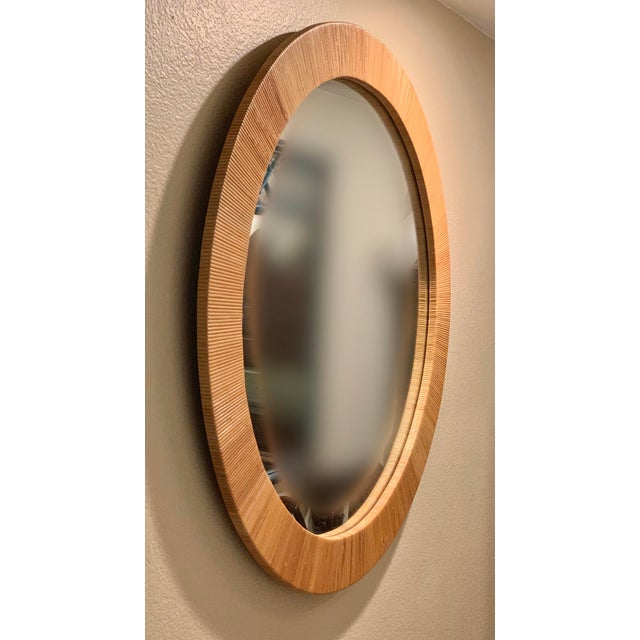 Bielecky Brothers Bielecky Brothers Round Rattan Mirror For Sale - Image 4 of 7