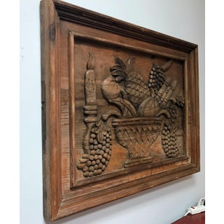 Vintage Mid Century Solid Wood Hand Carved Wall Hanging Preview