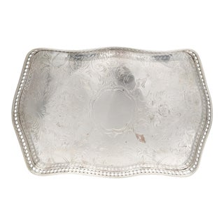 Antique English Sheffield Silver Plated Reticulated Tray For Sale