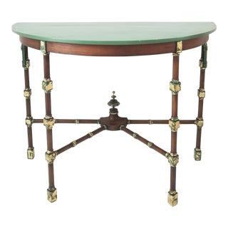 1940s Art Deco Demi-Lune Console Table For Sale