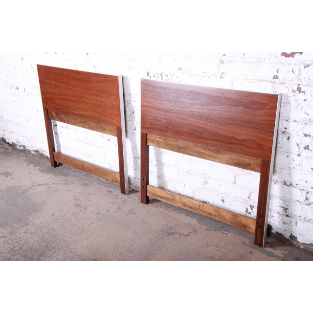 "Mid-century modern twin headboards Designed by Paul McCobb for Calvin Furniture ""Linear Group"" USA, 1950s Walnut +..."