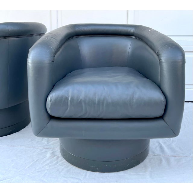 Postmodern Leon Rosen Style Swivel Tub Chairs - a Pair For Sale - Image 12 of 13