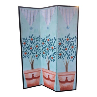 Hand Painted Orange Trees Room Divider For Sale