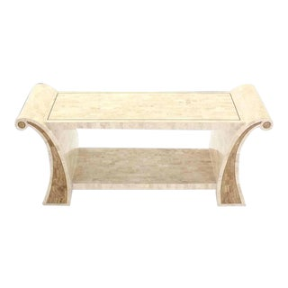 Maitland-Smith Tessellated Stone Veneer Console Table For Sale
