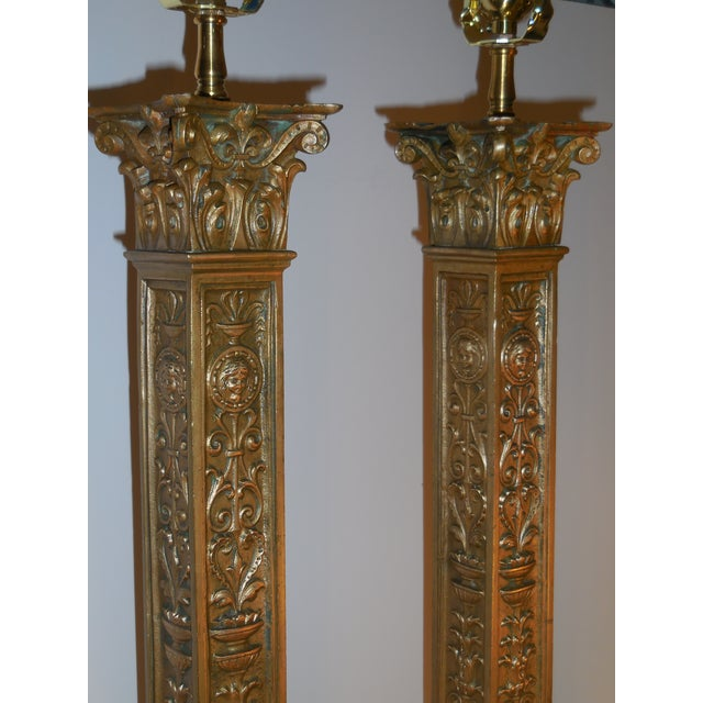 Antique Bronze Ornate Table Lamps - Pair - Image 4 of 11
