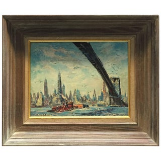 Old New York East River Brooklyn Bridge Cityscape Painting For Sale