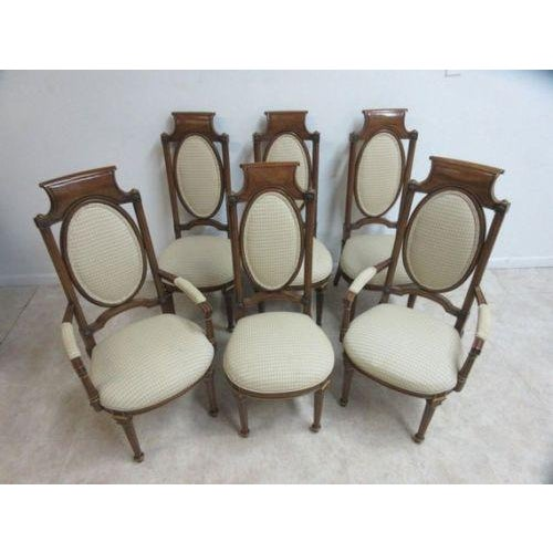 French Vintage Mastercraft French Regency Walnut Dining Room Side Arm Chairs - Set of 6 For Sale - Image 3 of 5