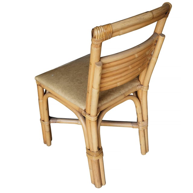 Paul Frankl Restored Slat Legs and Back Rattan Dining Chair, Set of Six For Sale - Image 4 of 7
