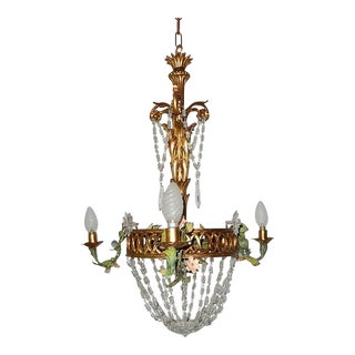 French Giltwood Tole Flowers Crystal Prisms Chandelier For Sale