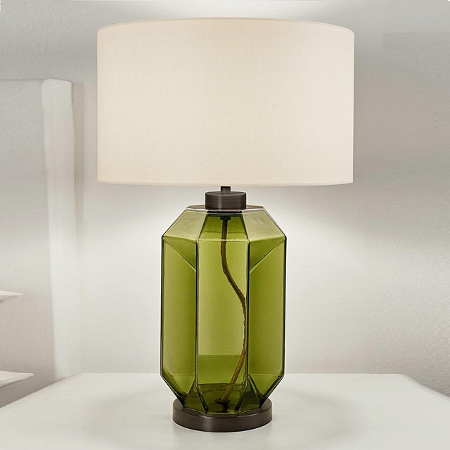 Mid-Century Modern Laguna Hexa Table Lamp in Olive Colour For Sale - Image 3 of 4