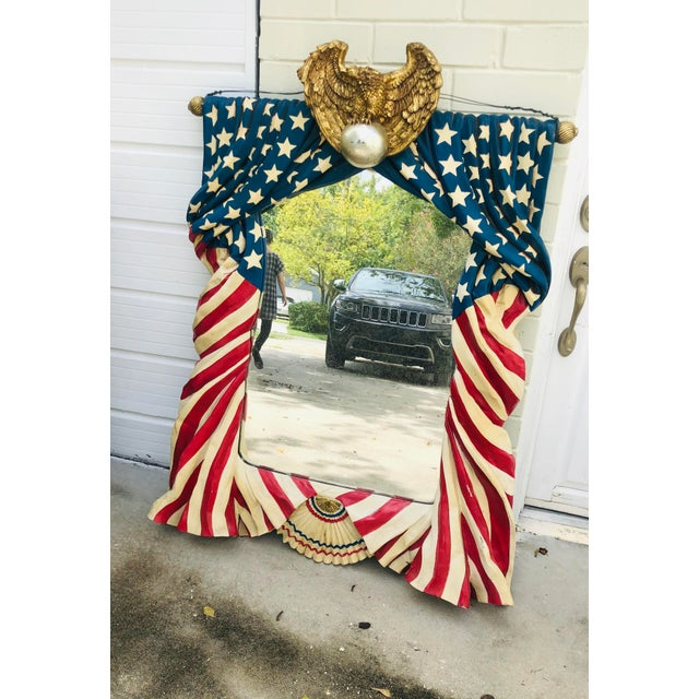 Monumental American Flag Draped Mirror For Sale - Image 4 of 11