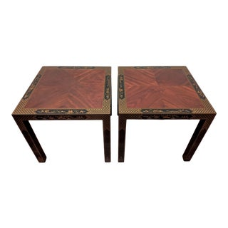 1980s Parsons Chinoiserie Side Tables, a Pair (Drexel - Et Cetera Collection) For Sale