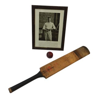 1990s Cricket Sports Theme Bat, Ball, and Photo Decor For Sale