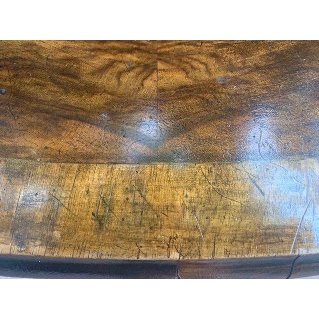 Traditional Oval Burled Walnut Veneer Coffee Table on Pedestal Base For Sale In Denver - Image 6 of 13