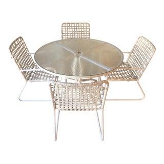 Brown Jordan Lido Plexi-Glass Top Table & Chairs, Umbrella Capable - Dining Set